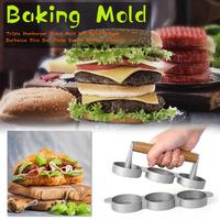 Triple Hamburger Food Grade Burger Press Aluminum Non Stick Maker For BBQ Grills Kitchen Utensils Tool Accessories