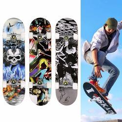 Max 100 kg de carga Completa Skate PRO Impressão Madeira skate PU rodas de Skate Completo Crânio Imprimir 30.6x7.6 x 3.7inc
