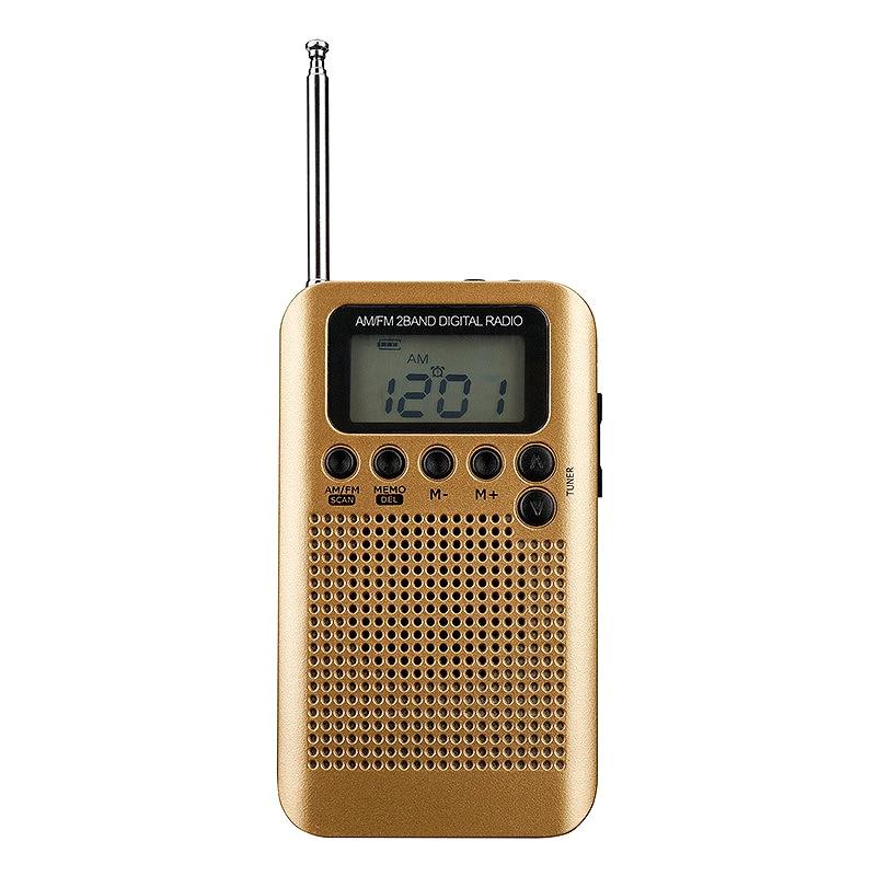 gold Mini Lcd Digital Fm/am Radio Lautsprecher Mit Wecker Und Zeit Display Funktion 3,5mm Kopfhörer Jack Und Ladekabel Tragbares Audio & Video