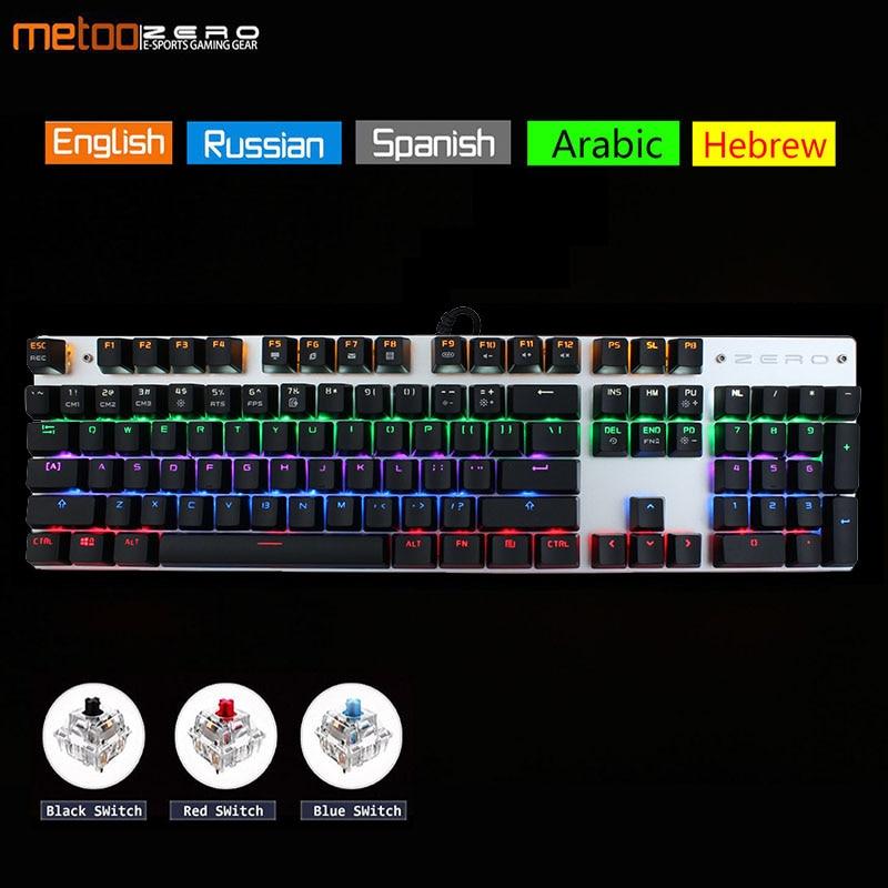 Metoo Edition Mechanical Keyboard 87 Keys 104keys Blue Switch Red Switch Gaming Keyboards For Tablet Desktop Russian Sticker