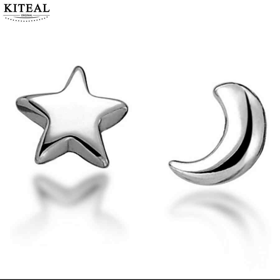 306b66d0b KITEAL 2018 New Fashion Plated Silver Tiny Cute Teens Simple Elegant Moon  and Star Studs Earrings