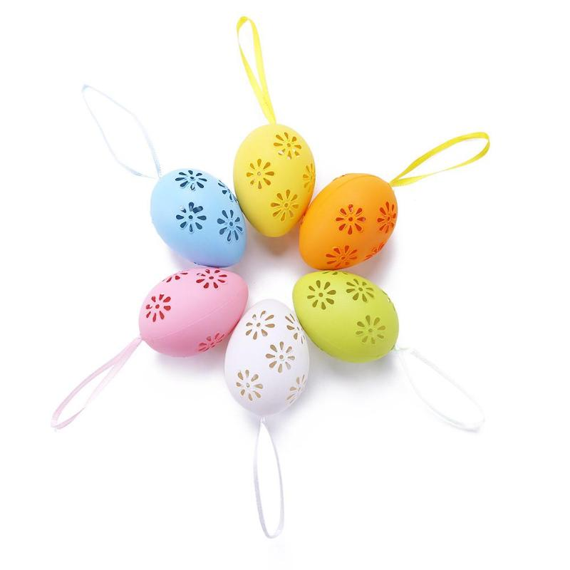 6pcs Easter Eggs Kids Decorations Plastic Egg Hollow Out DIY Painted Eggs Pendant Children Gifts Ornament