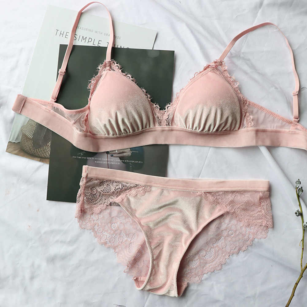 d7f836723f546 Women Lingerie Bra Set Adjustable Strap Wire Free Underwear With Pants  Triangle Cup Velvet Lace Gather