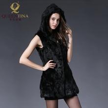 Women Winter Rabbit Fur Vest Hooded Solid Genuine Rabbit Fur Waistcoats Lady 100% Natural Real Fur Long Jacket Coats with Hood