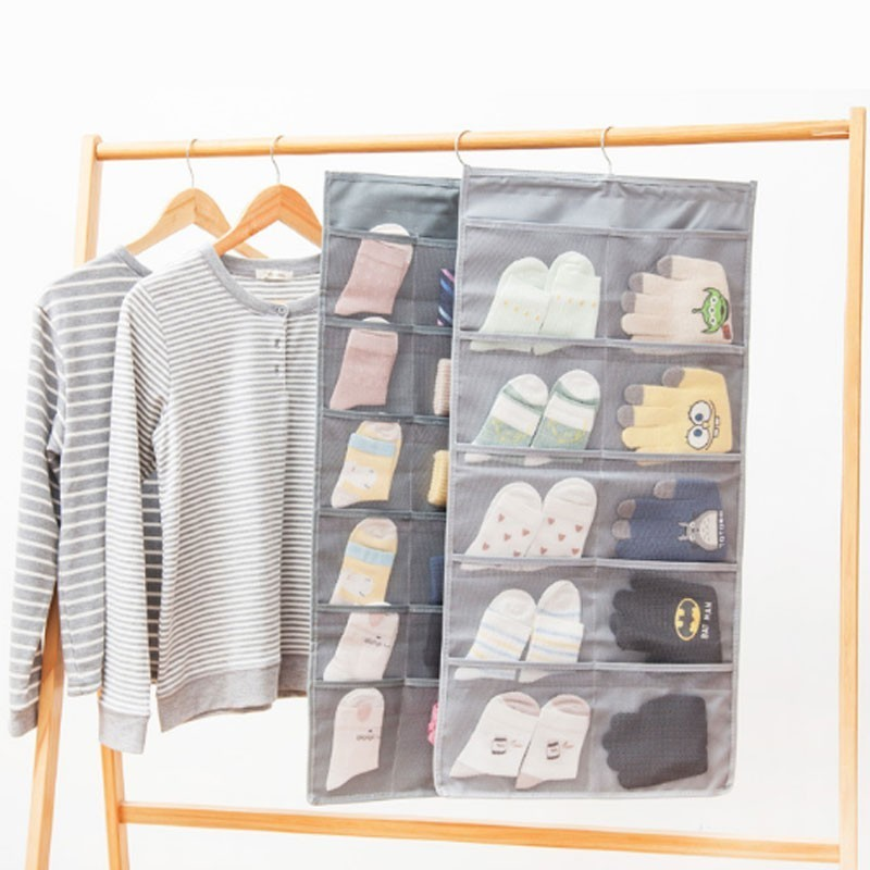 Image 3 - Multi layer Multi color Double sided Storage Bag Dormitory Bedroom Socks, Gloves Wall mounted Storage Underwear organizer-in Storage Bags from Home & Garden