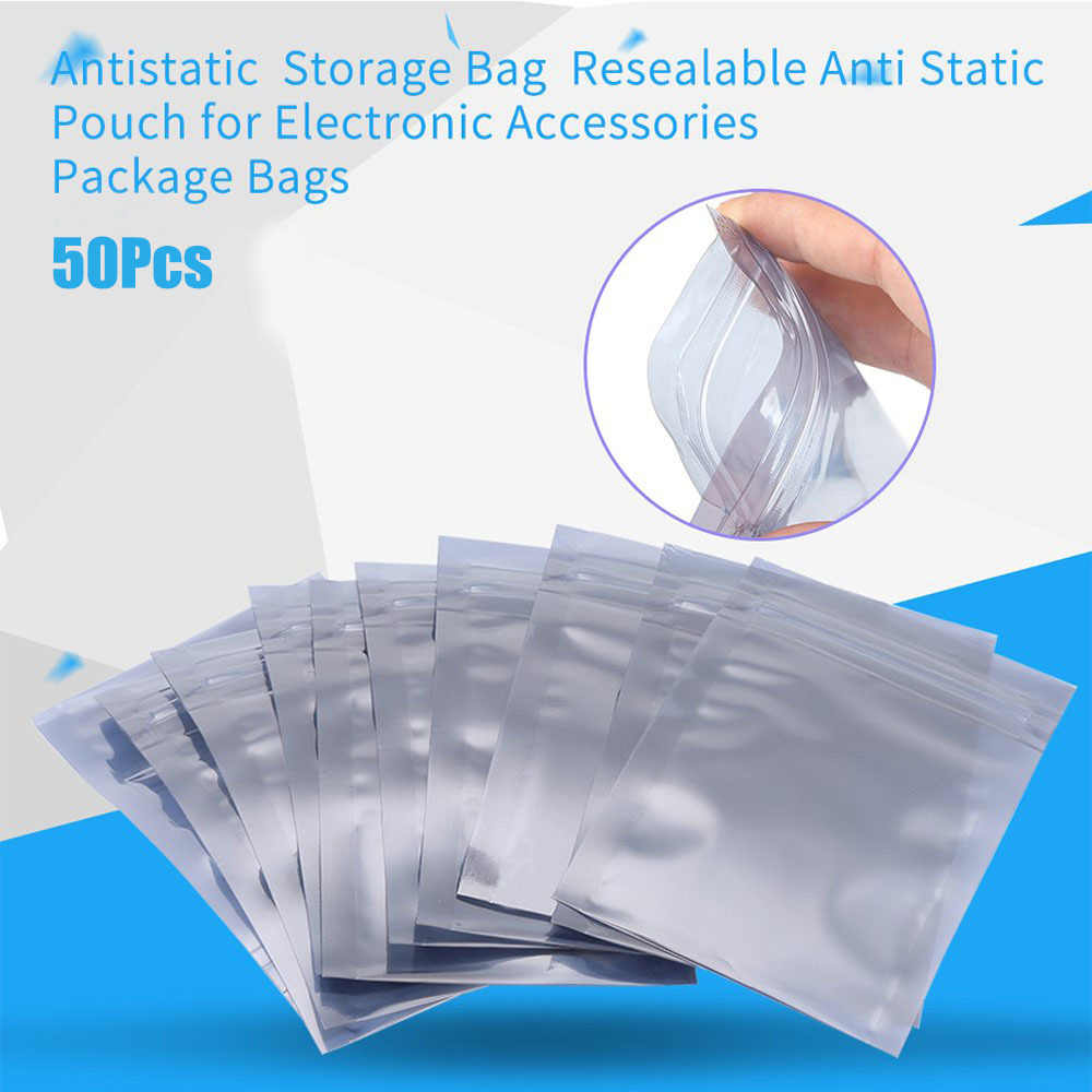 50pcs Antistatic Aluminum Storage Bag Ziplock Bags Resealable Anti Static Pouch For Electronic Accessories Package Bags
