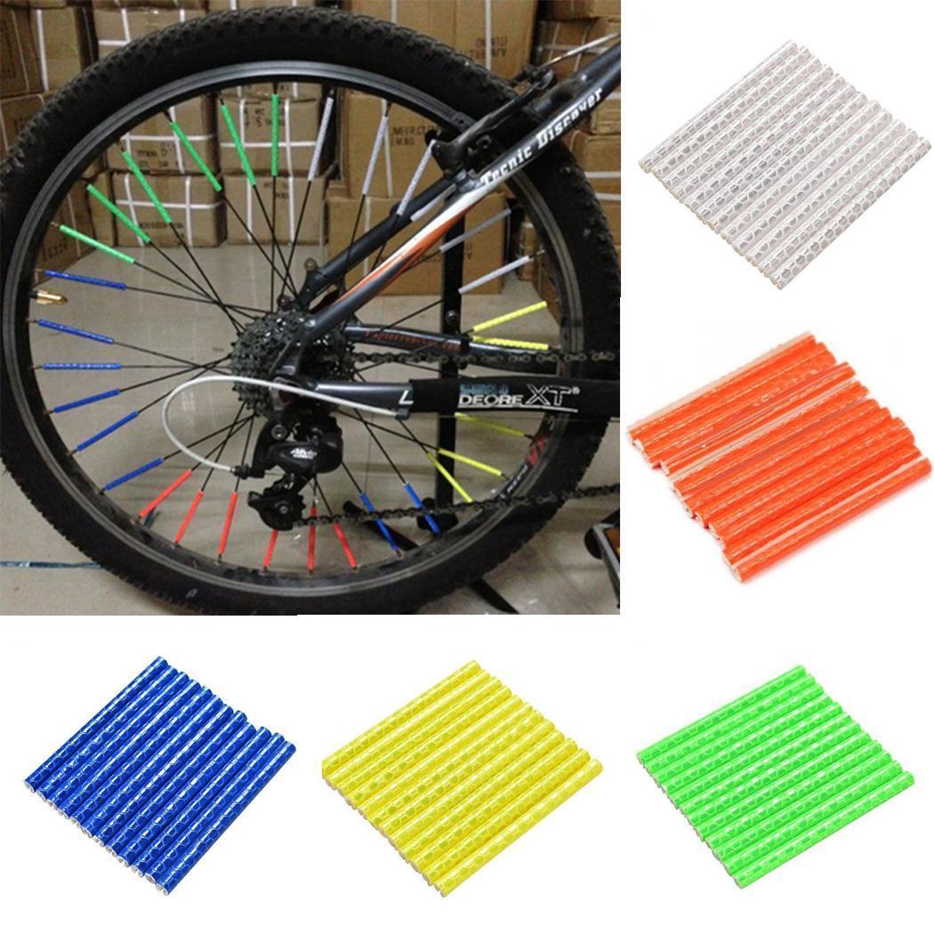 12PCS 75mm Bicycle Wheel Rim Spoke Bike Mount Clip Warning Light Strip Reflector