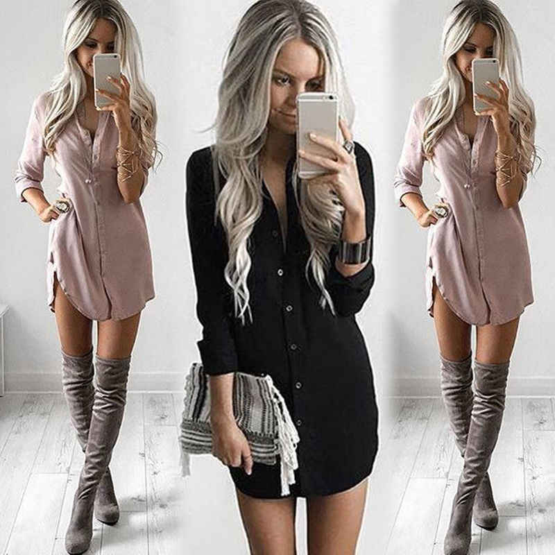 2019 Newest Style Lady's Office Women's Long Sleeve Casual Dresses Fashion Summer Autumn Solids In Bulk Mini Dress Short Dress