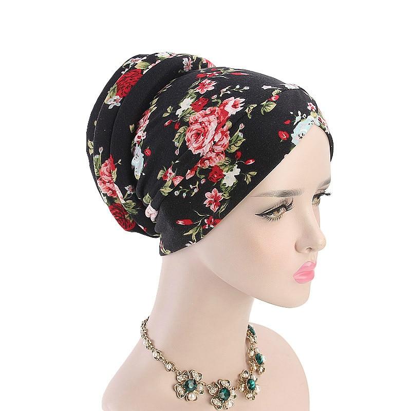 Women Hair Accessories Fashion Women  Muslim Hijab Hat Bohemia Style Lady Turban Cap Beanie Scarf Turban Head Wrap Cap
