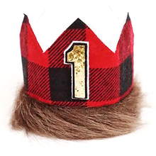 Cute One Year Old Birthday Hat Lumberjack Creative Cloth Hats Lovely Party Crown