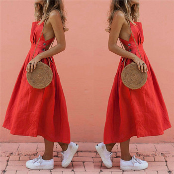 Women Summer Boho Strappy Long Maxi Dress Sexy Backless Party Red Dress Beachwear  Sundress vestido mujer 1