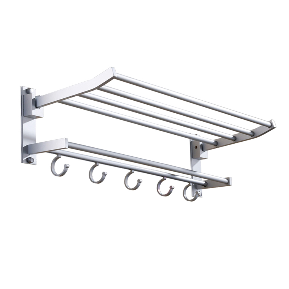 1pc Towel Holder Double-layer Space Aluminum Folding Punch-free Towel Bar For Restroom Bathroom