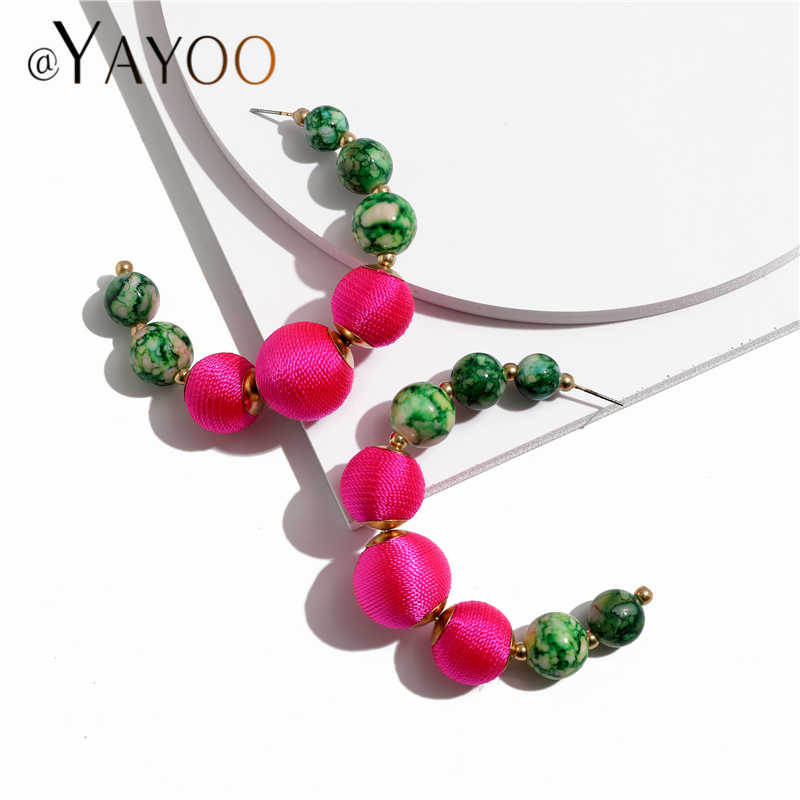 AYAYOO Fashion Earrings For Women Statement 2019 Beaded Long Flowers Earrings Hanging Za Fringe Dangle Earring Female