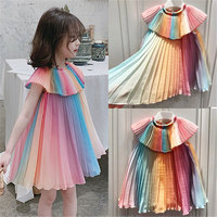 2019 Korean Version Girl Dress Rainbow Fairy Summer Cool Chiffon Pleated Children's dress Baby Girl Clothes Girl Party Dress