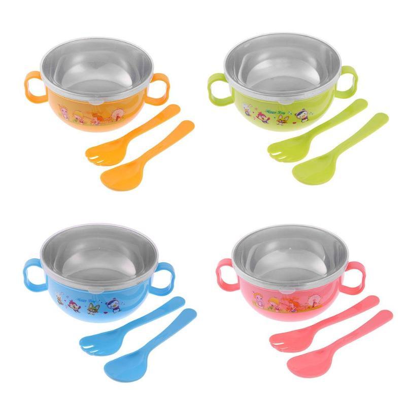 300ml Bowl With Spoon Set Baby Feeding Training Baby Tableware Bowl Stainless Steel Cartoon Binaural Baby Feeder Kids Plate Suck