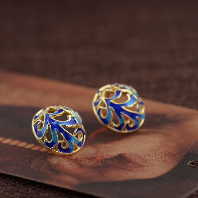 deer S925 silver antique process Mana burn for women wear peony fung gold plated ears series Thai silver wholesale
