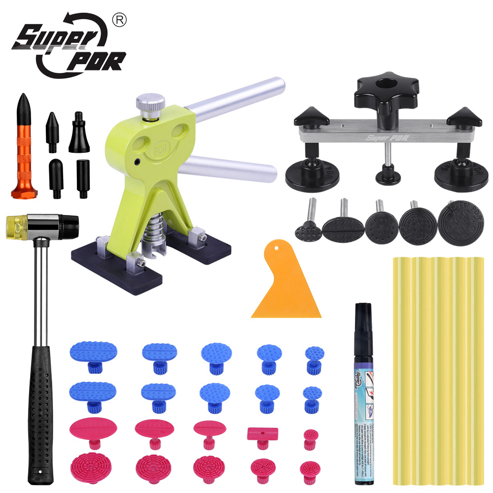 Super PDR Tools Auto Dent Puller Suction Cup Car Dent Pulling Bridge Paintless Dent Removal Kit Rubber Hammer Glue Tabs & Sticks 2 in one slide hammer dent puller kit newest bridge dent puller lifter pdr paintless dent removal tools 24 pdr pulling tabs