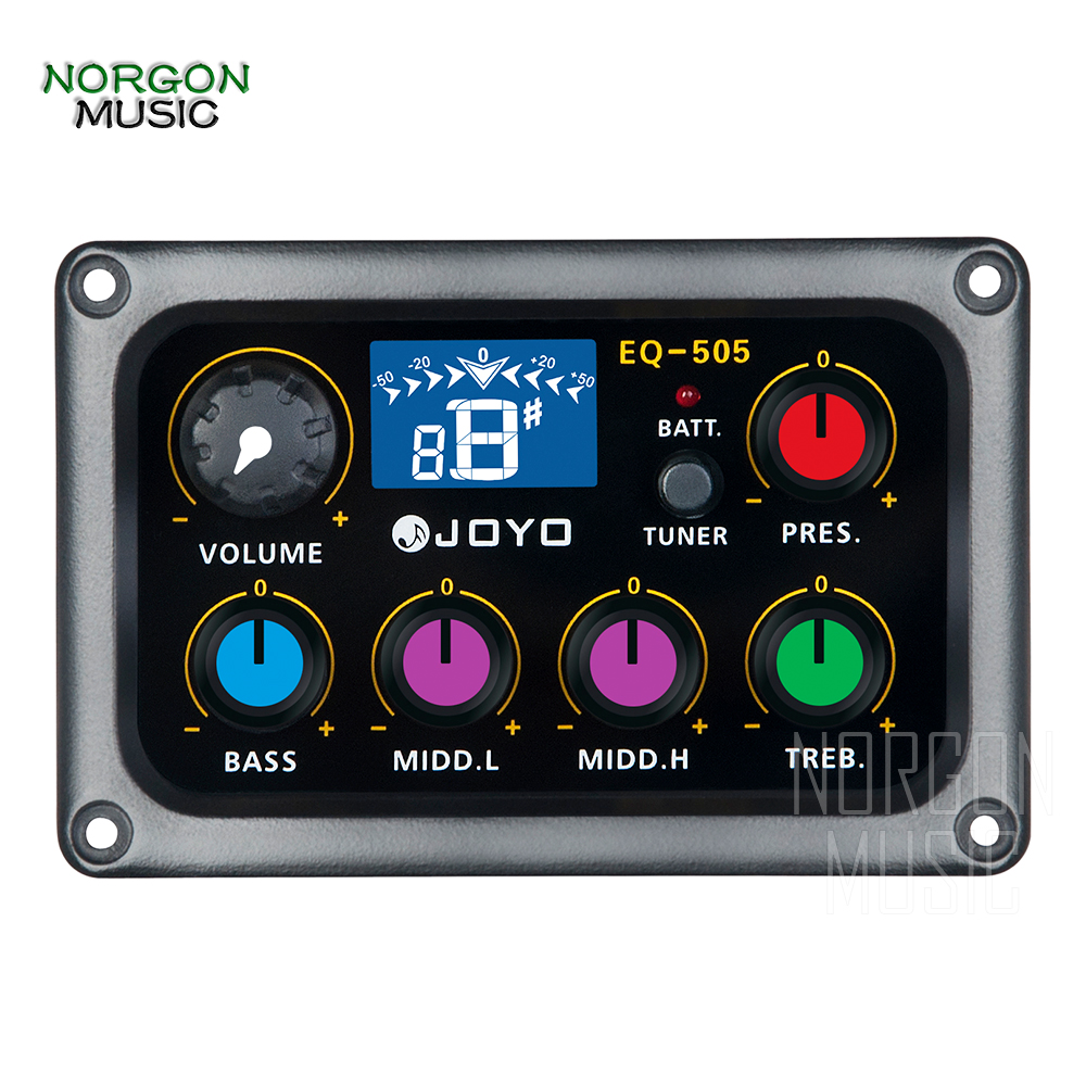 Joyo EQ 505 5 Band Preamp EQ&Tuner Acoustic Classic Guitar Parts and Accessories Volume Bass Middle 1&2 Treble Presence