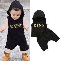 Комплект одежды для маленьких мальчиков от 0 до 36 месяцев, толстовка с надписью «King» для мальчиков, однотонная черная хлопчатобумажная трик...