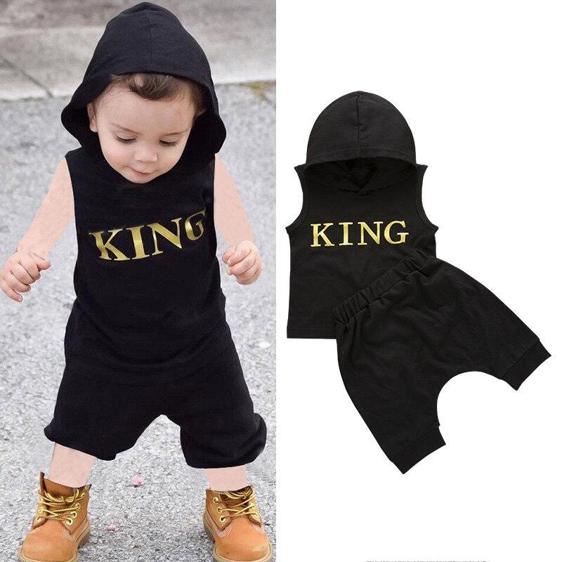 0-36M Baby Jungen Kleidung Set Brief König Drucken Hoodie Für Jungen Solide Schwarze Ärmellose Sweatshirt Jungen Hosen outfits Baby Boy Set
