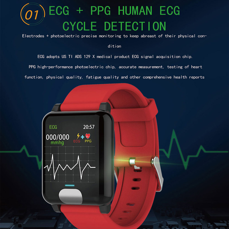 bd90c559021 Melhor Pulseira inteligente Relógio de Medição da Pressão Arterial ECG PPG  Mulheres Ip67 Monitor de Freqüência Cardíaca Relógio de Fitness Rastreador  GPS À ...