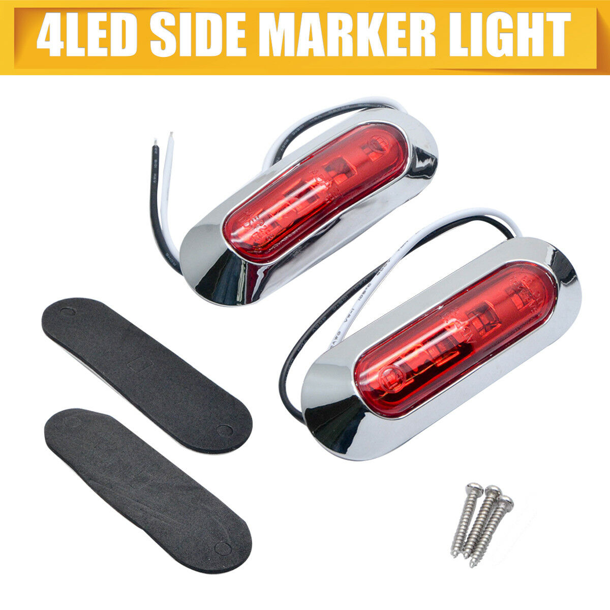 2x 12V Red 4 LED Marker Light Side Clearance Marker Light Car Truck Trailer Indicator Lamp