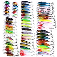 62pcs Fishing Lure Swimbait Set Float 3D Eye Minnow Fishing Wobbler Baits Wobbler Crankbaits Swimbait Minnow Hard Baits