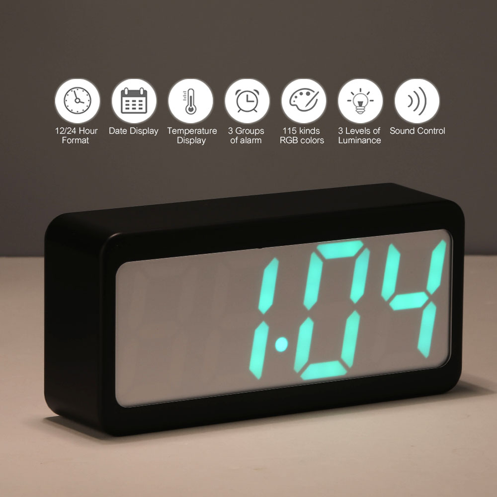 Digital Alarm Clock Time/Temperature/Date Display RGB LED