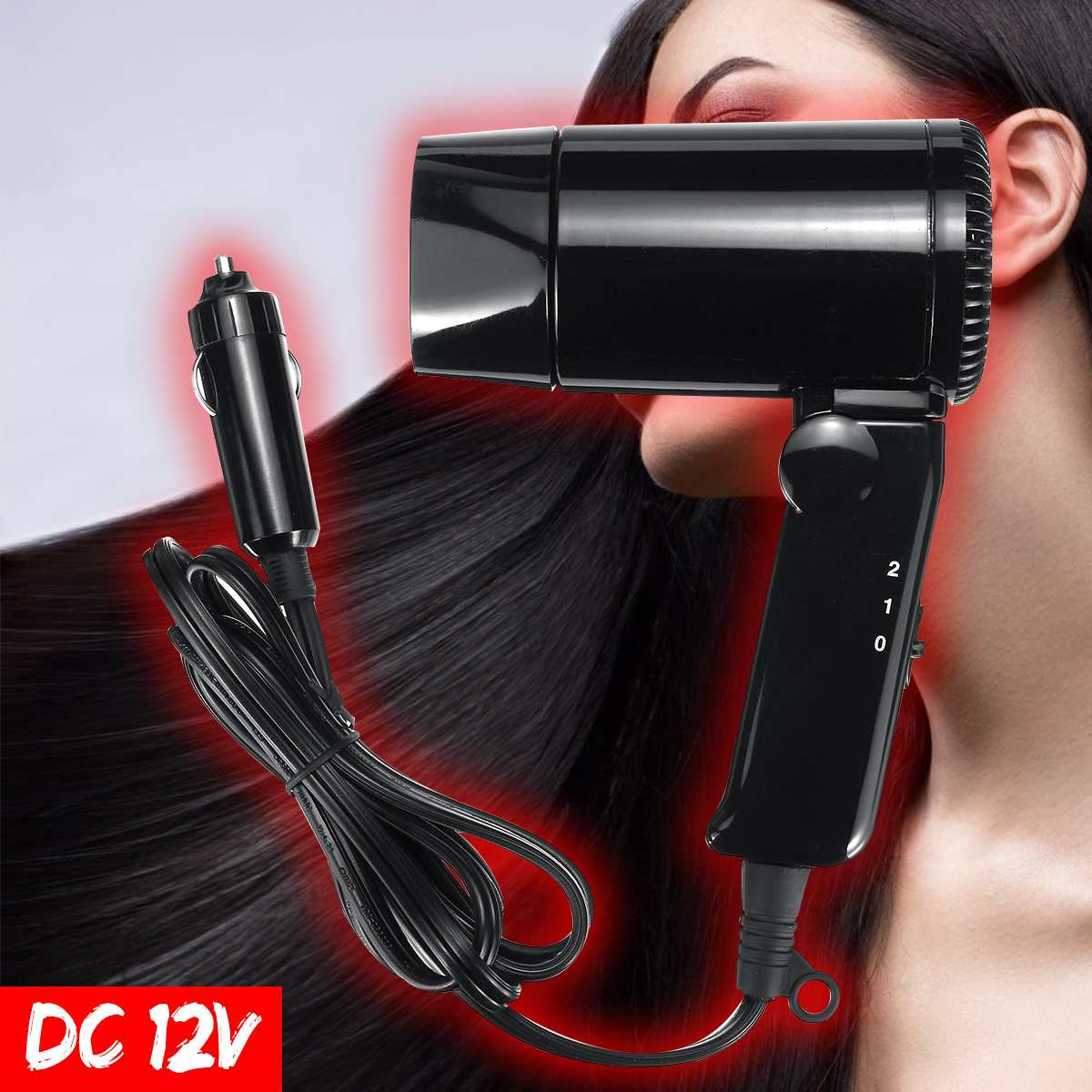 800W DC 12V Car Folding Hair Dryer Portable Electric Hair Dryer Hairdressing Tool Vehicle Mini Blower Outdoor Travel Camping