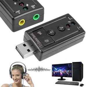 Mini External USB 2.0 Sound Card 7.1 Channel 3D Audio Adapter Converter + 3.5mm Earphone MIC Interface for PC Computer