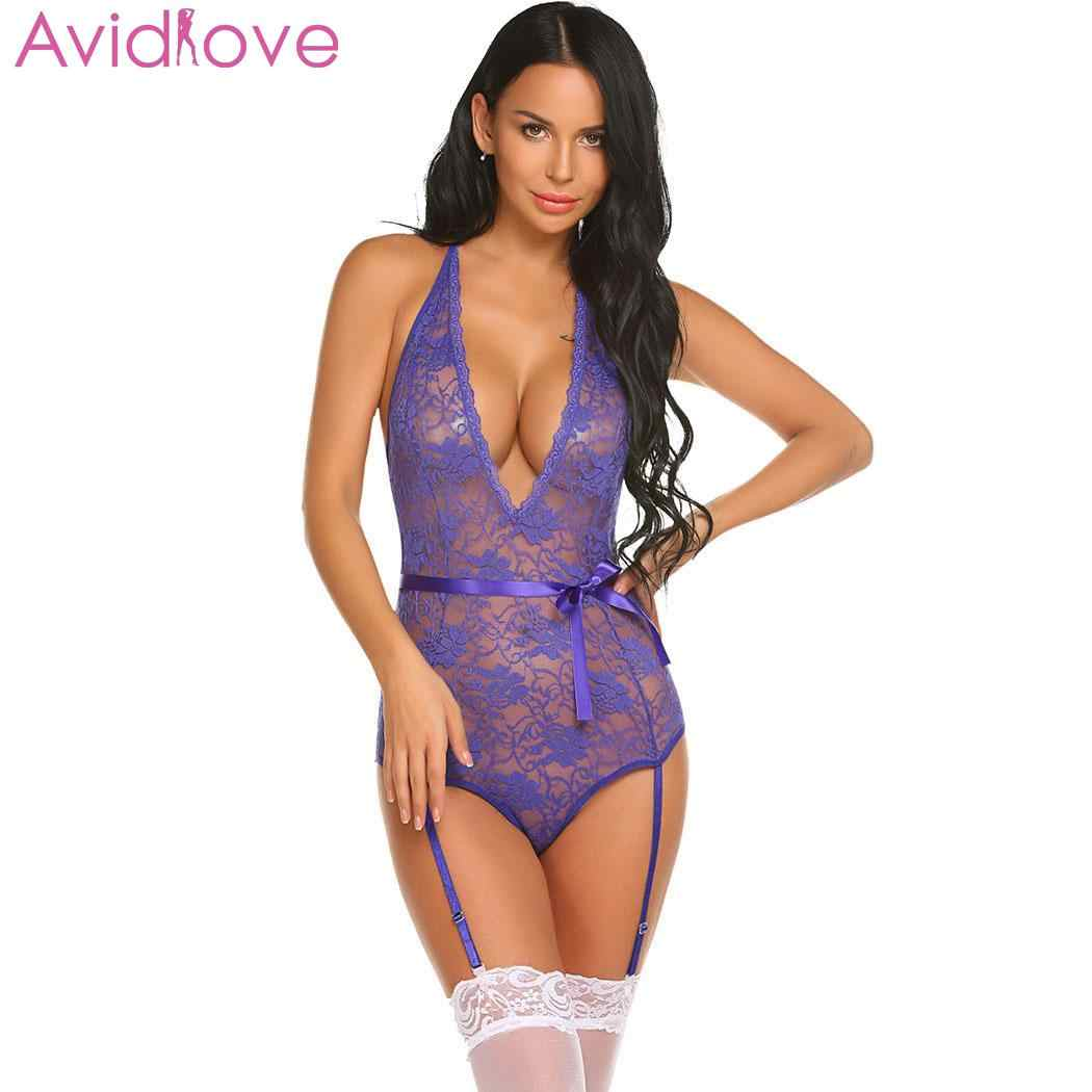 4c4a9c0ef3e ... Avidlove Women Sexy Costumes Bodysuit Body Stocking Sexy Lingerie Lace  Teddy With Garter Belts Summer Nightwear ...