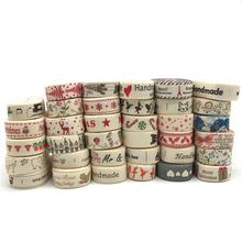5 jardów 15mm wiele wzorów #8222 Handmade #8221 drukowana bawełniana wstążka z koronką tkaniny do szycia prezent na ślub zawijanie świątecznej wstążki tanie tanio RYFDBMauve PRINTED Pojedyncze twarzy 5 8 Satyna 100 bawełna 5 yards