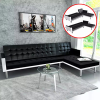 VidaXL Corner Sofa With Sleeping Function Imitation Leather Black L Shape Living Room Corner Sofas With Sleeping Function