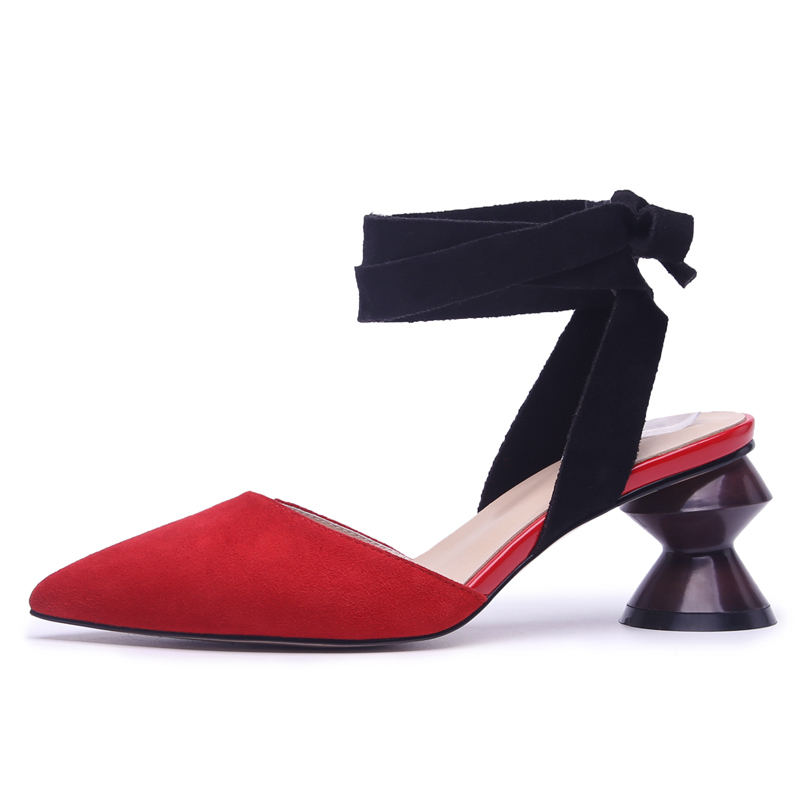 Red Leather Women Sandals 6 CM Chunky Heels Sexy Pointed-toe Party Pumps for Woman Ankle Strap Shoes Box Packing 1030Red Leather Women Sandals 6 CM Chunky Heels Sexy Pointed-toe Party Pumps for Woman Ankle Strap Shoes Box Packing 1030