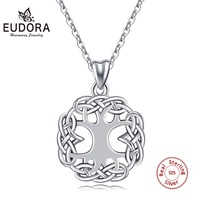 EUDORA 925 Sterling Silver Tree of Life Pendant Necklace Irish Celtics Knot Crann Bethadh Style Necklaces Women Jewelry KYD192