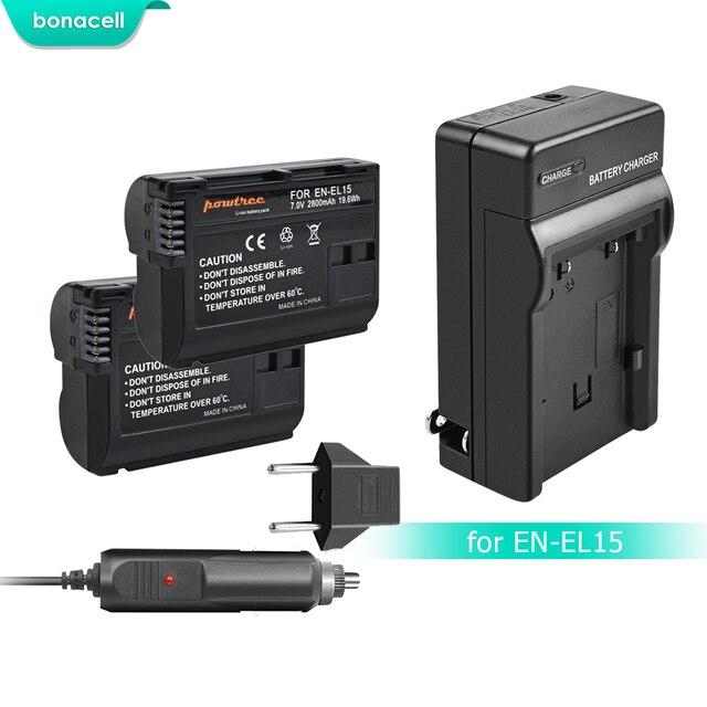 Bonacell 2800 mAh EN-EL15 ENEL15 es EL15 Cámara batería + cargador para Nikon DSLR D600 D610 D800 D800E D810 D7000 d7100 D7200 L15