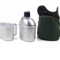 Special Outdoor Sport Military Aluminum Stainless Steel Water Bottle Canteen Jug + Army Green Cloth Cover Camping Picnic Travel