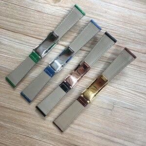 Image 2 - Bracelet de montre en cuir véritable à motif Crocodile, 20mm, noir vert marron bleu, pour montre de rôle Daytona Submariner GMT RX