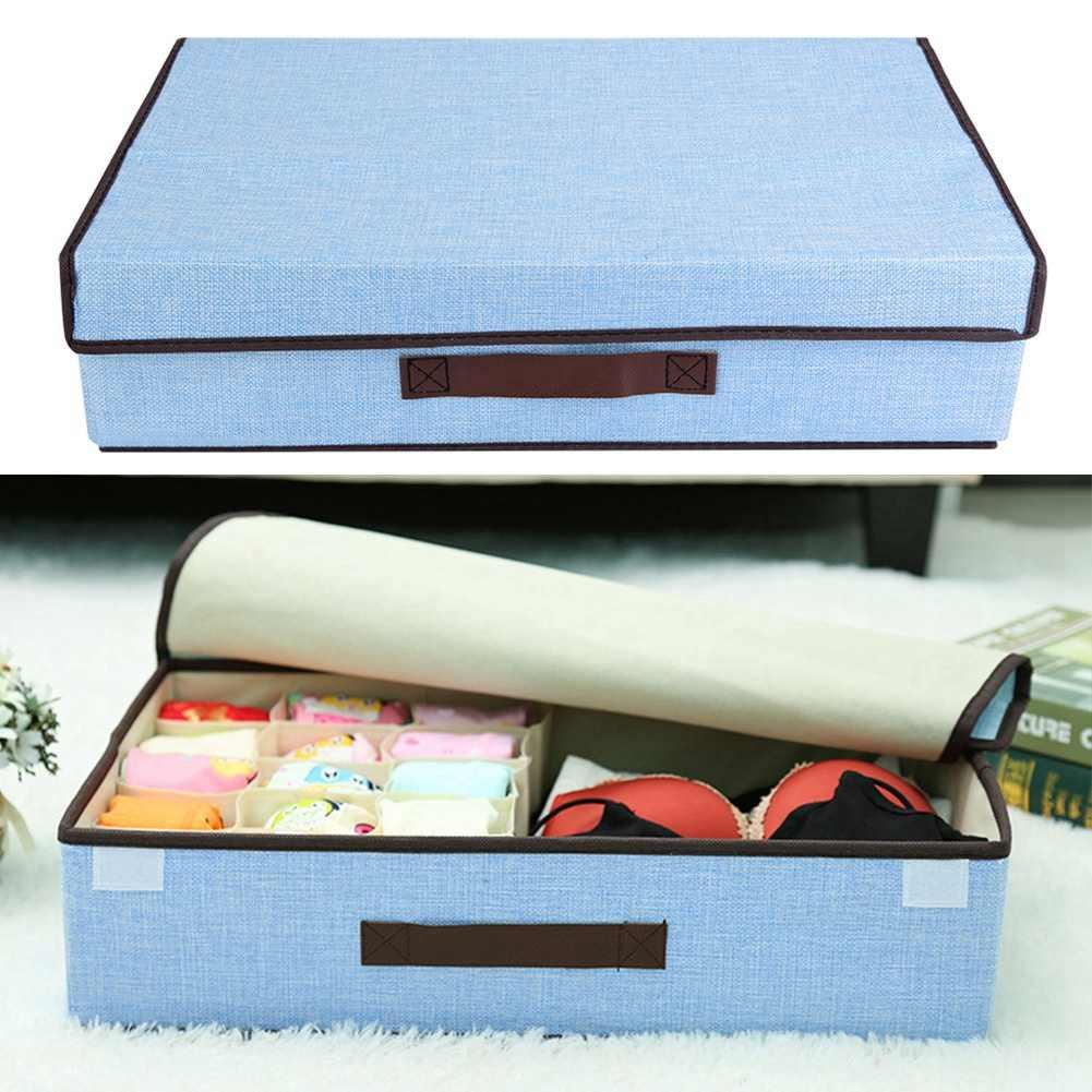 Складные хлопковые ящики для хранения шкафа органайзер для шкафа пылезащитный Антибактериальный для галстуков Носки Шорты бюстгальтер Organizador