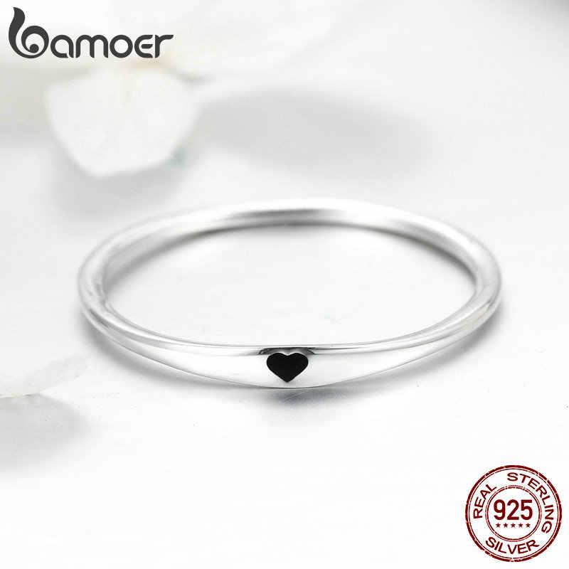 BAMOER 925 Sterling Silver Rodada Círculo Puro Anel de Dedo Simples Gravar Coração Anéis para As Mulheres Noivado Jóias SCR468