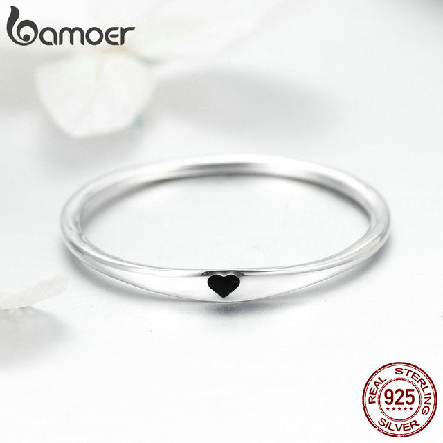 BAMOER 925 Sterling Silver Round Circle Pure Finger Ring Simple Heart Engrave Rings for Women Wedding Engagement Jewelry SCR468 3