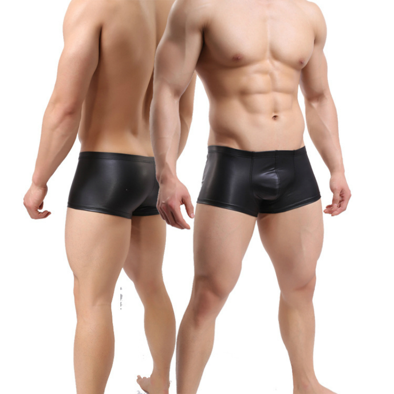 Men Erotic Leather Panties Intimacy Boxer Nightclub Briefs For Men Sex Latex Underwear Cool German Sexy Patent Leather String in Boxers from Novelty Special Use