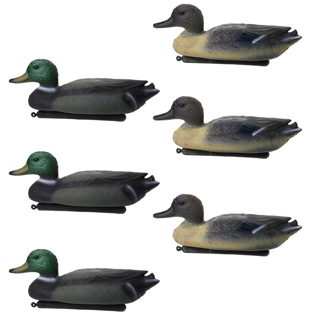 6 Pcs 3D Lifelike  Duck Hunting Decoy Floating Lure W/ Keel For Hunting Fishing