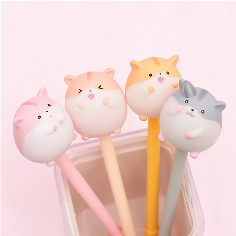 Cute Hamster Gel Pen Creative Pens Kawaii Cartoon Neutral Pens For Kids Girls Gifts School Office Supplies Novelty Stationery