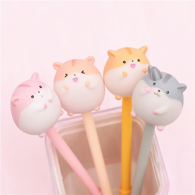 Cute Hamster Gel Pen Creative Pens Kawaii Cartoon Neutral Pens For Kids Girls Gifts School Office Supplies Novelty Stationery