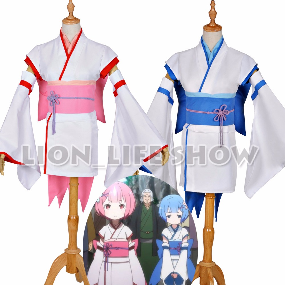 Re Zero Starting Life In Another World Rem Ram Childhood Kimono Cosplay Costume
