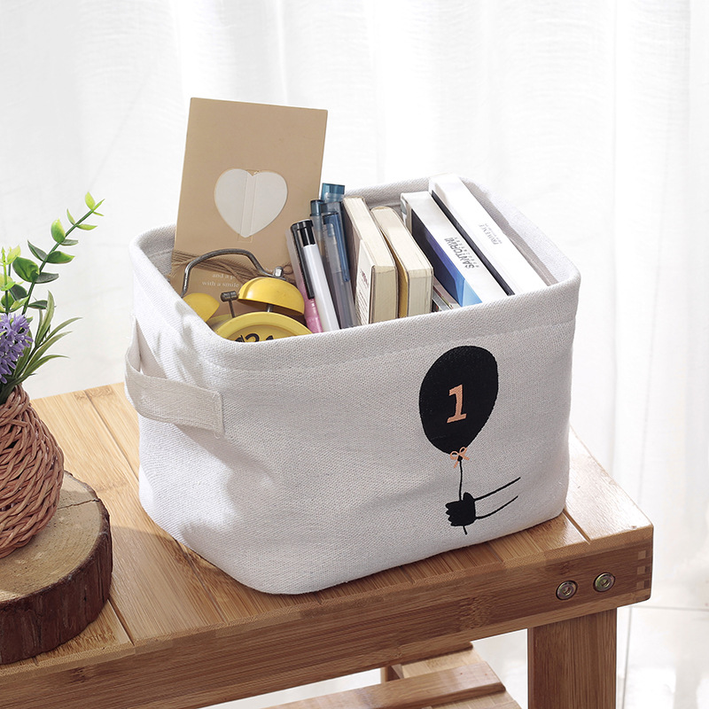 Simple Cloth Storage Bag Wardrobe Cotton Linen Storage Basket Desktop Sundries Snack Basket Home Decor Storage Basket