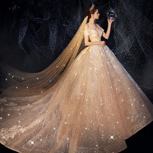 Vivians Bridal 2019 Luxury Shinny Sky Wedding Dress Sexy Strapless Off Shoulder Chapel Train Romantic Fluffy Women Gown