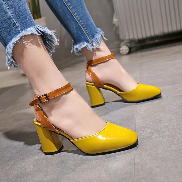 Women Pumps Comfortable Square Heels Women Shoes Brand High Heels Ankle Buckle Women Gladiator Heeled Sandals Wedding Shoes
