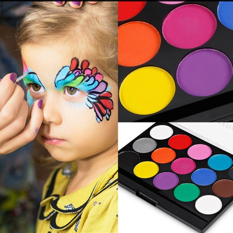 Us 6 33 34 Off 15 Colors Set Body Art Painting Drawing Set Artists Face Paint Makeup Watercolor Acrylic Brush Supplies Body Paint 03173 In Acrylic